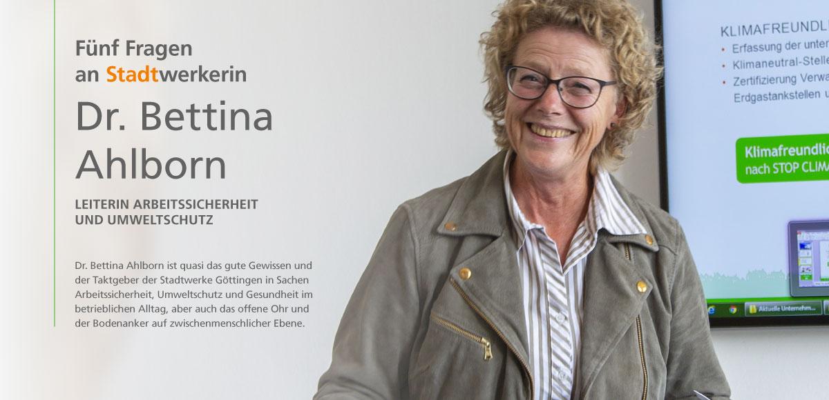 Dr. Ahlborn, Leiterin Arbeitssicherheit und Umweltschutz, im Interview des Nachhaltigkeitsberichts 2017 bis 2018 der Stadtwerke Göttingen AG