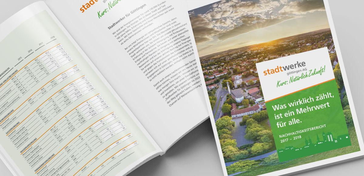 """Titelseite und Einleitungsseite """"Stadtwerker für Göttingen"""" im Nachhaltigkeitsbericht 2017 bis 2018 der Stadtwerke Göttingen AG"""