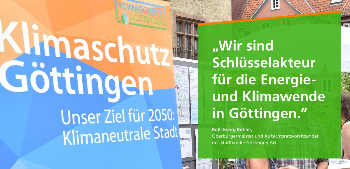 Leitmotiv im Nachhaltigkeitsbericht 2017 bis 2018 der Stadtwerke Göttingen AG zum Klimaschutzkonzept Göttingen 2050