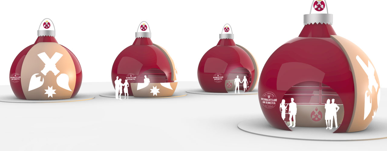 Modelle von Verkaufsständen in Weihnachtskugelform im Weihnachtsland am Rennsteig Design