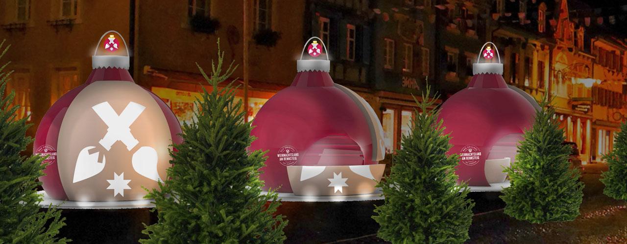 Animation eines Weihnachstmarktes mit Verkaufsständen in Form von Christbaumkugeln