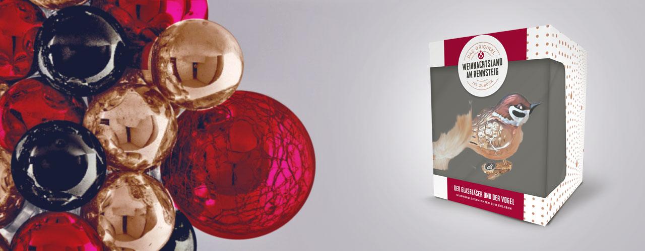 Kugelcluster und Produktverpackung in den Markenfarben und Weihnachtsland am Rennsteig