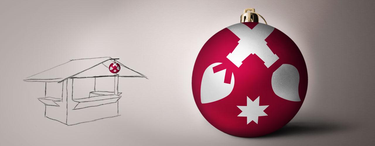 Kugel aus dem Logo Weihnachtsland am Rennsteig als echte Christbaumkugel zum Aufhängen