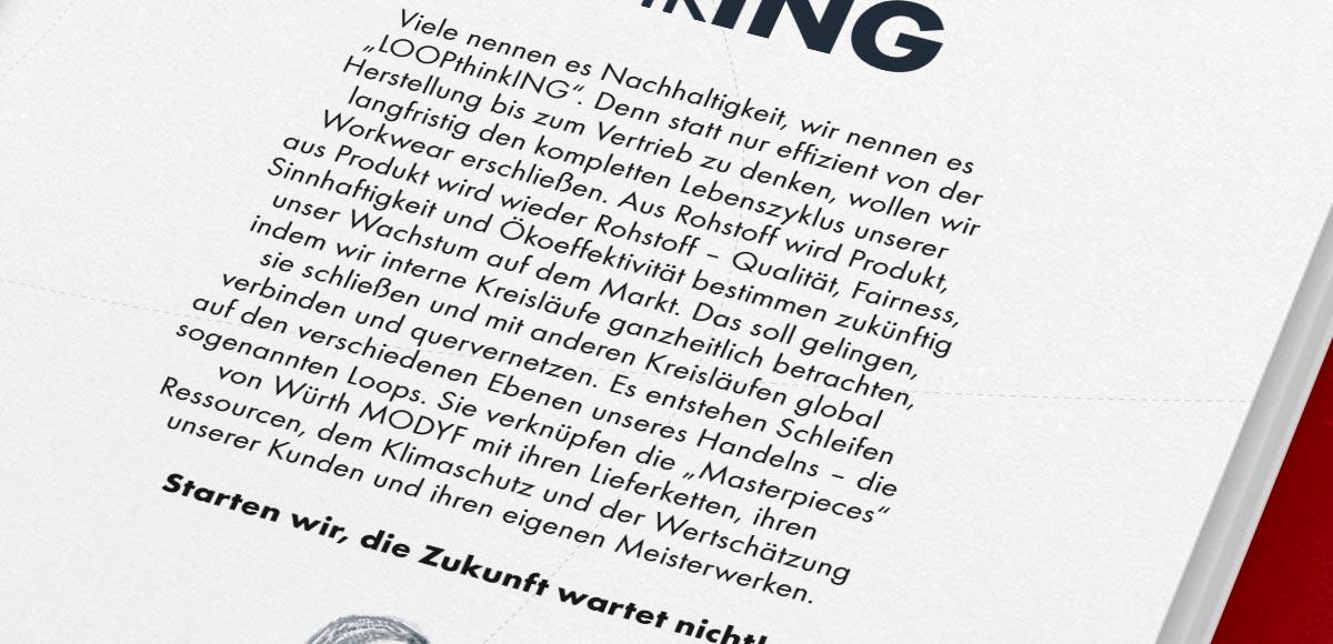 Im Nachhaltigkeitsbericht abgedructer Erklärtext der Nachhahaltigkeitsstrategie Loop thinking der Würth MODYF Deutschland