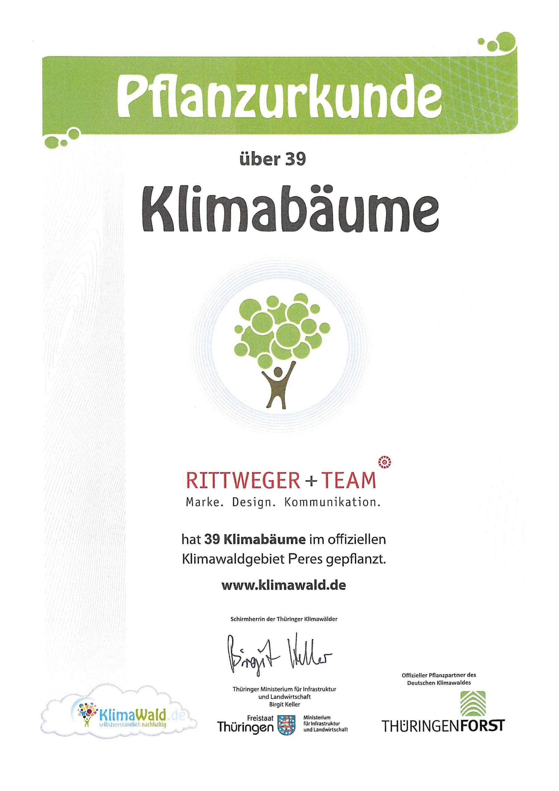 Klimaurkunde – RITTWEGER + TEAM Werbeagentur GmbH hat 39 Klimabäume im offiziellen Klimawaldgebiet Wollersleben gepflanzt.