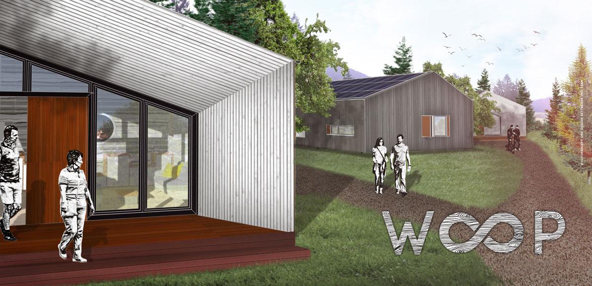 Grafische 3D-Animation von zwei WOOP-Ferienhäusern
